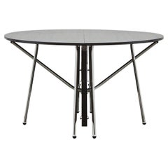 PH Dining Table Folding, Chrome, Black Oak Veneer Table Plate, Veneered Edge