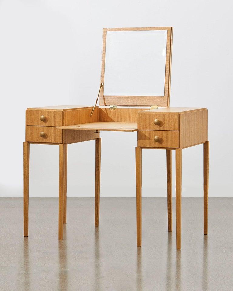 Bauhaus PH Dressing Table, Natural Oak Veneer, White Ashwood Drawers For Sale