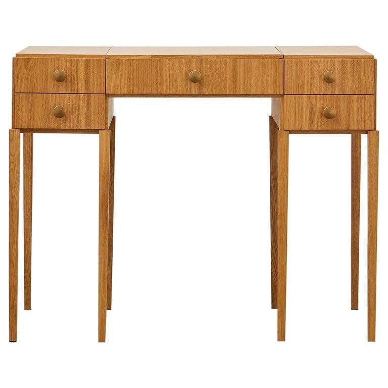 PH Dressing Table, Natural Oak Veneer, White Ashwood Drawers For Sale
