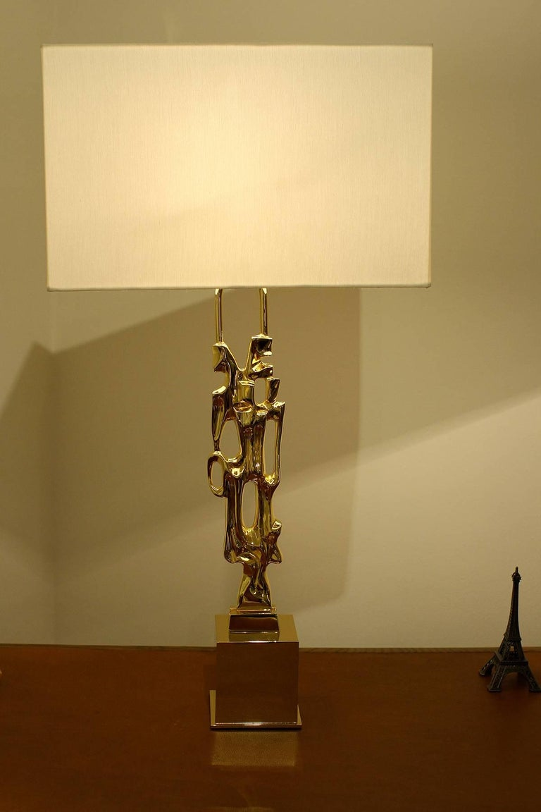 French Ph. Glapineau, Pair of Gilt Bronze Table Lamps For Sale