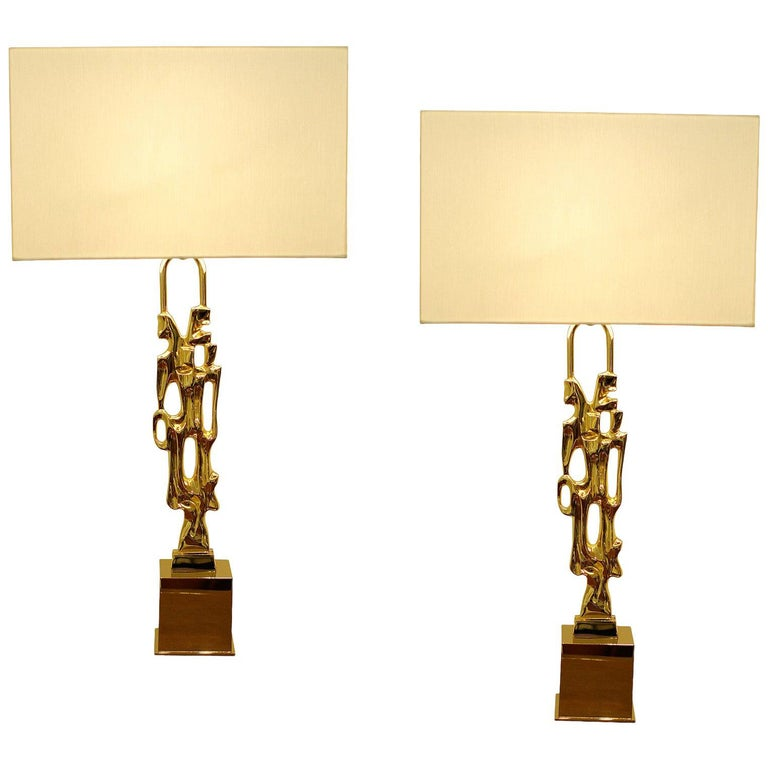 Ph. Glapineau, Pair of Gilt Bronze Table Lamps For Sale
