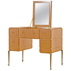 PH Grand Dressing Table, brass legs, natural oak veneer, white ash wood drawers