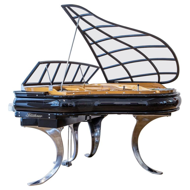 PH Grand Piano PH150 Avantgarde, Black High Glass Wood with Chrome Lid For Sale