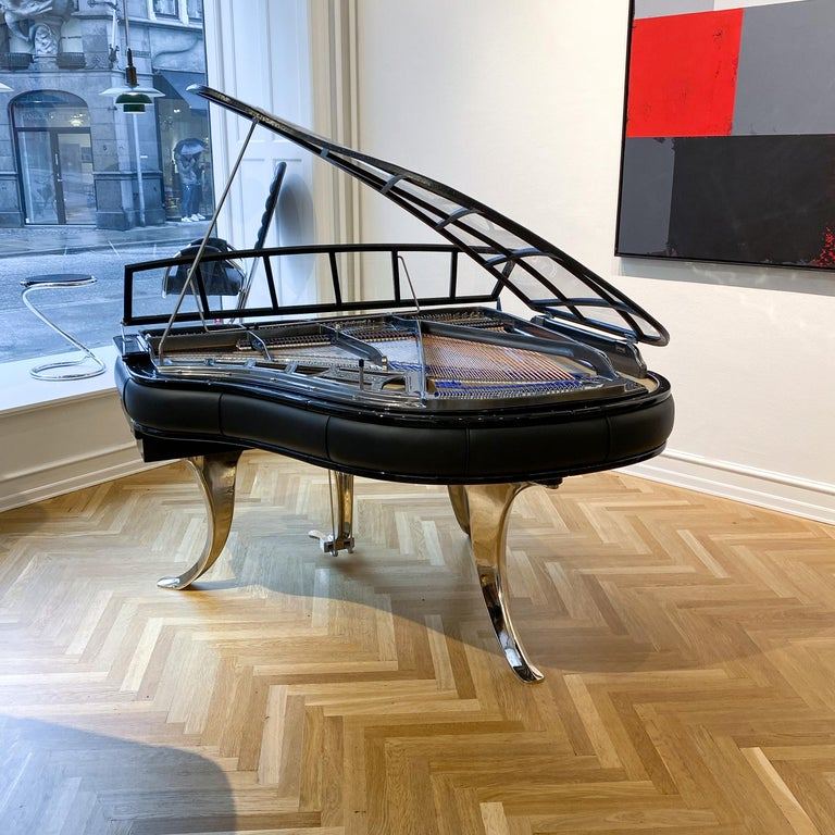 Bauhaus PH Grand Piano PH150 Excellence, Black Leather with Chrome Lid For Sale