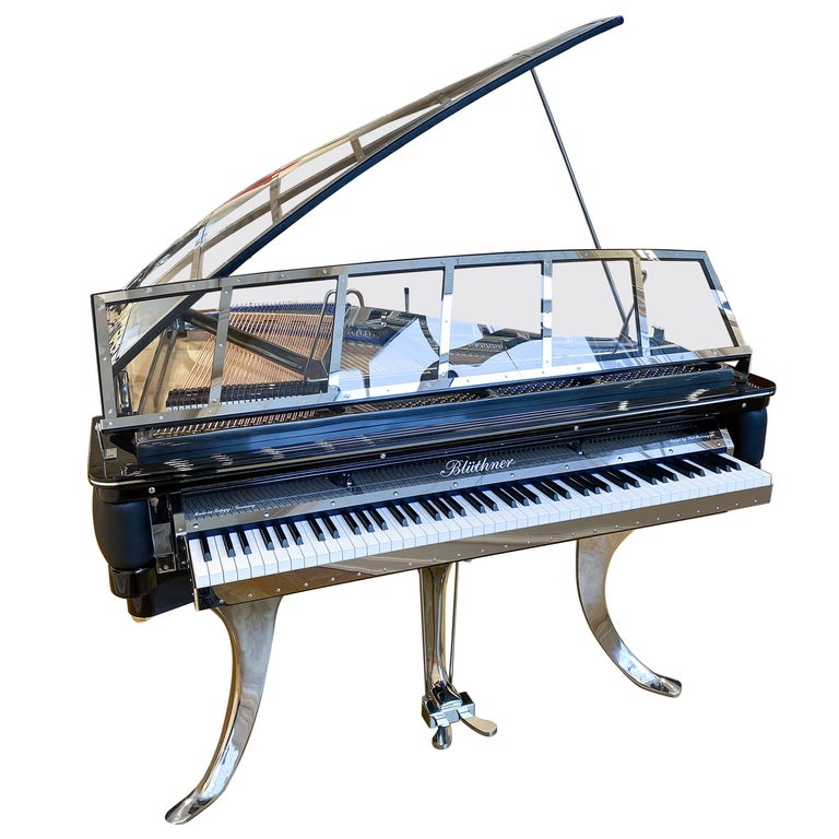 PH Grand Piano PH150 Excellence, Black Leather with Chrome Lid For Sale