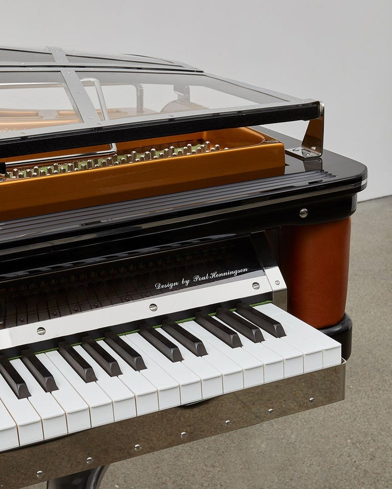PH Grand Piano PH150 Excellence, cognac leather with chrome lid In New Condition For Sale In Copenhagen, DK