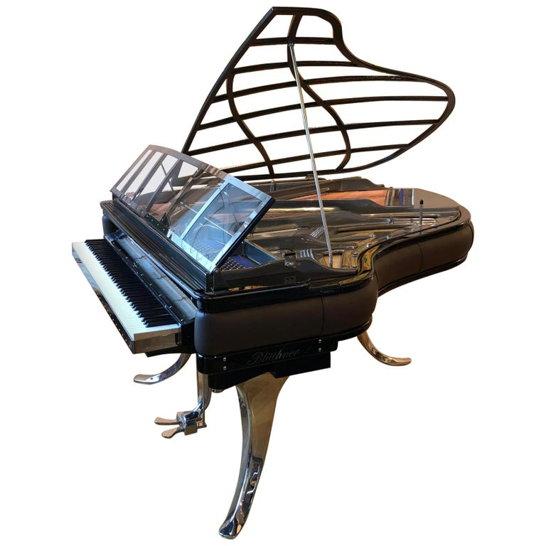 PH Grand Piano PH186 Excellence, Mocca Leather with Chrome Lid For Sale