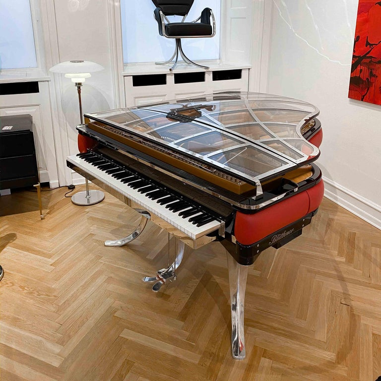 Bauhaus PH Grand Piano PH186 Excellence, Red Leather and Chrome Lid For Sale