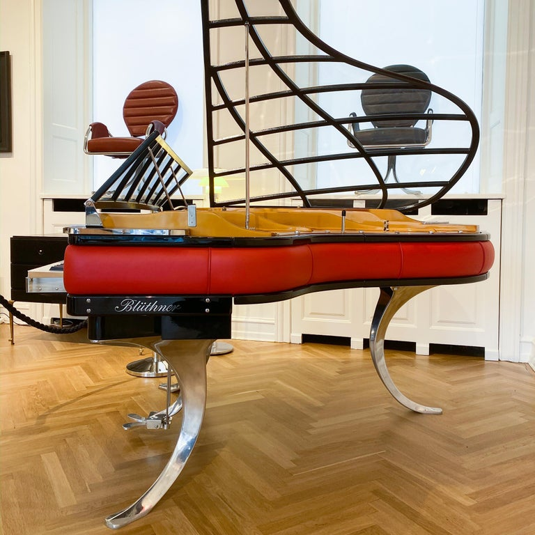 Danish PH Grand Piano PH186 Excellence, Red Leather and Chrome Lid For Sale