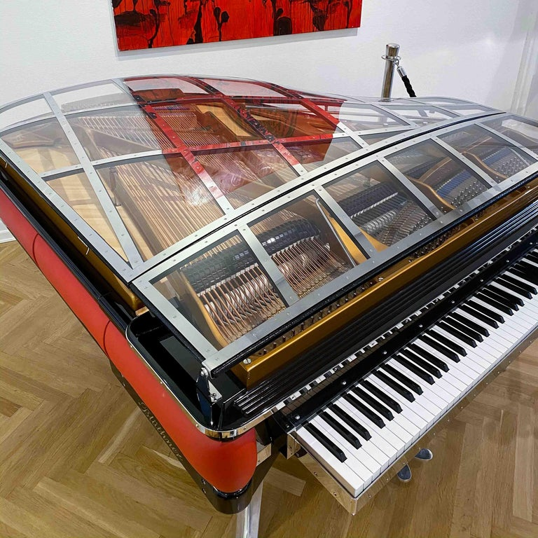PH Grand Piano PH186 Excellence, Red Leather and Chrome Lid In Excellent Condition For Sale In Copenhagen, DK