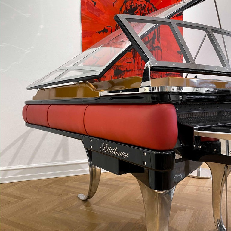 Contemporary PH Grand Piano PH186 Excellence, Red Leather and Chrome Lid For Sale