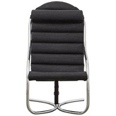 PH Lounge Chair, Chrome, Hallingdal Black 190