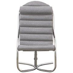 PH Lounge Chair, Chrome, Hallingdal Light Grey 126