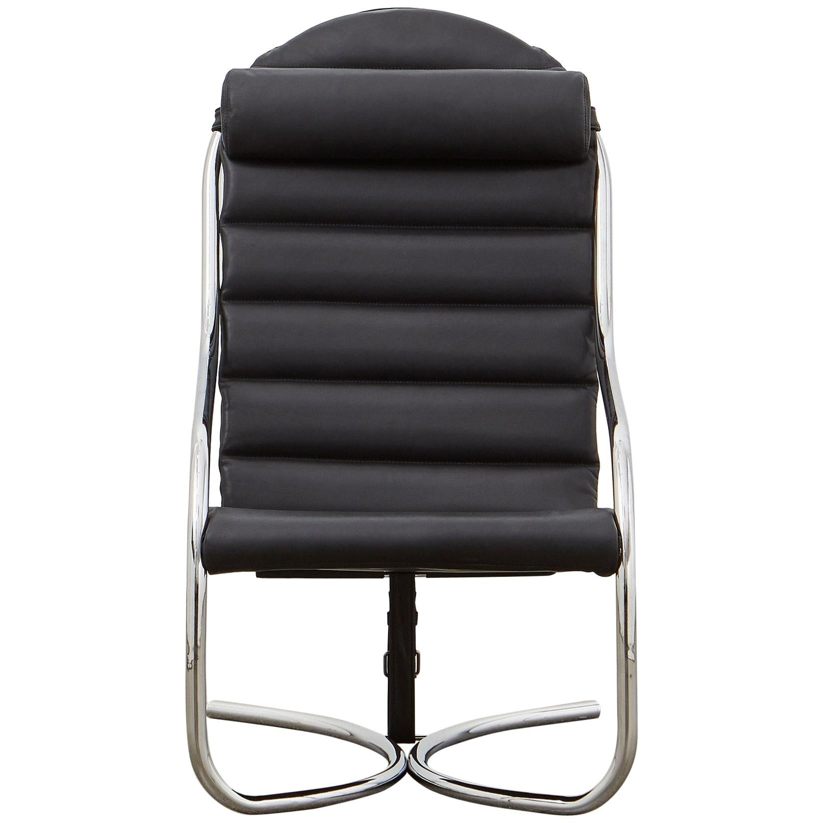 PH Lounge Chair, chrome, leather extreme black