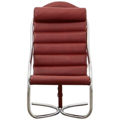 PH Lounge Chair, chrome, leather extreme indianred