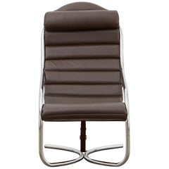 PH Lounge Chair, chrome, leather extreme mocca