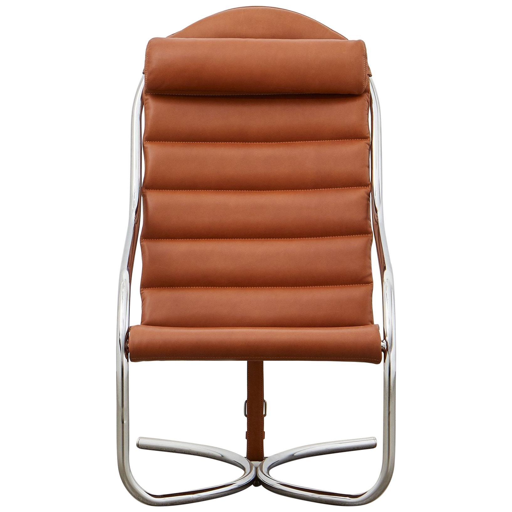 PH Lounge Chair, chrome, leather extreme walnut