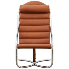 PH Lounge Chair, chrome, leather extreme walnut