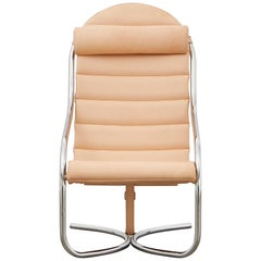 PH Lounge Chair, Chrome, Leather Natural Un-Dyed