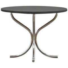 PH Lounge Table, Chrome, Solid Black Oak Table Plate