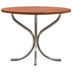 PH Lounge Table, chrome, solid mahogany table plate