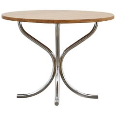 PH Lounge Table, Chrome, Solid Natural Oak Table Plate