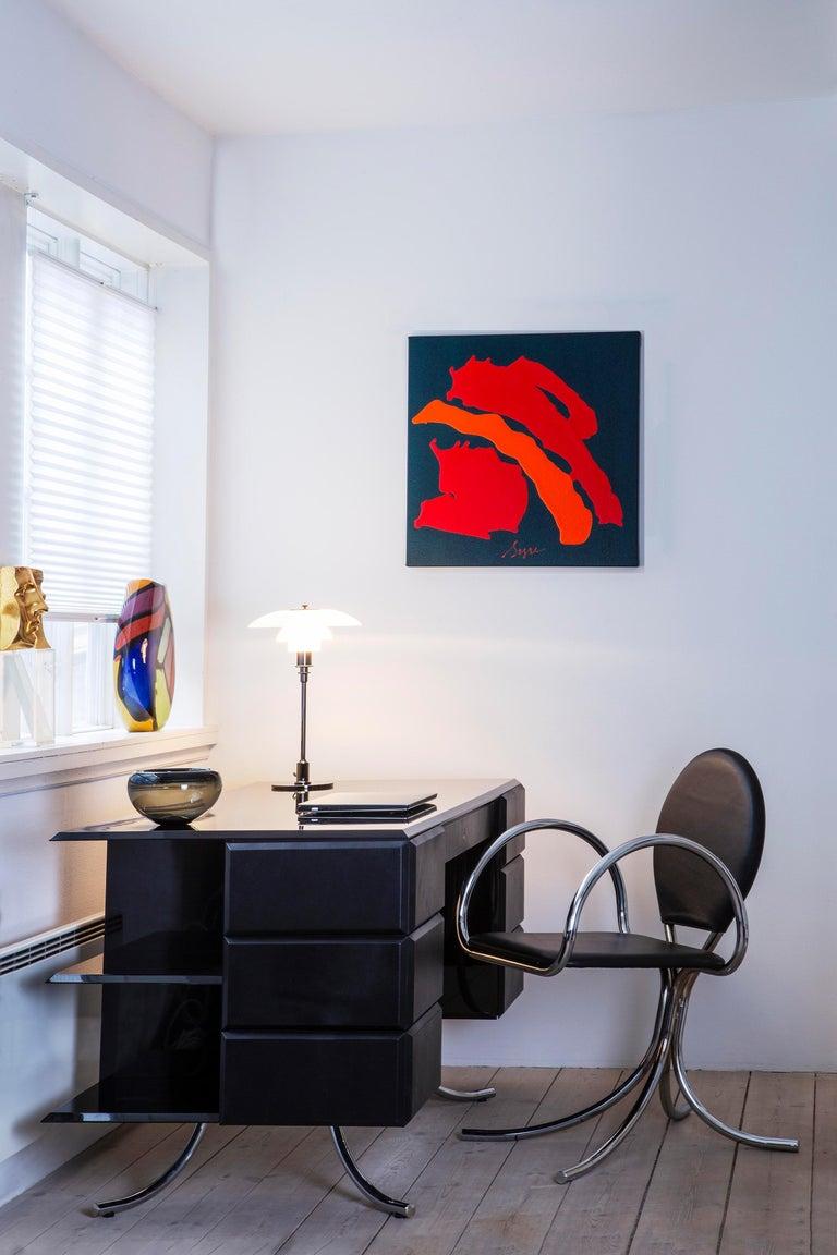 PH Office Desk, Chrome, Black Painted Polished, Leather on Panles, Satin Matt For Sale 4