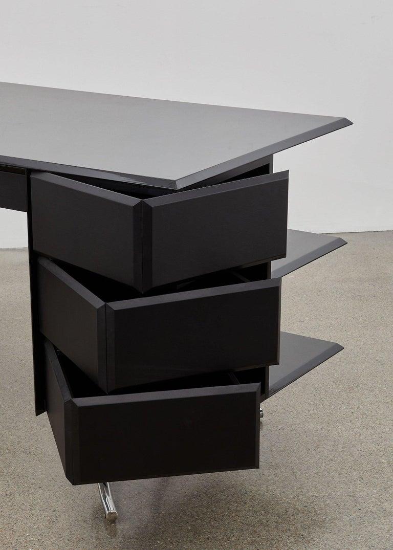Bauhaus PH Office Desk, Chrome, Black Painted Polished, Leather on Panles, Satin Matt For Sale