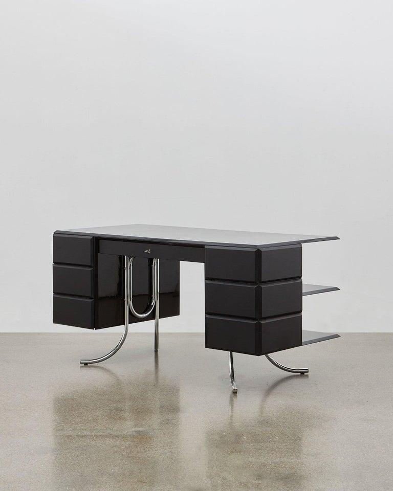 Danish PH Office Desk, Chrome, Black Painted Polished, Leather on Panles, Satin Matt For Sale