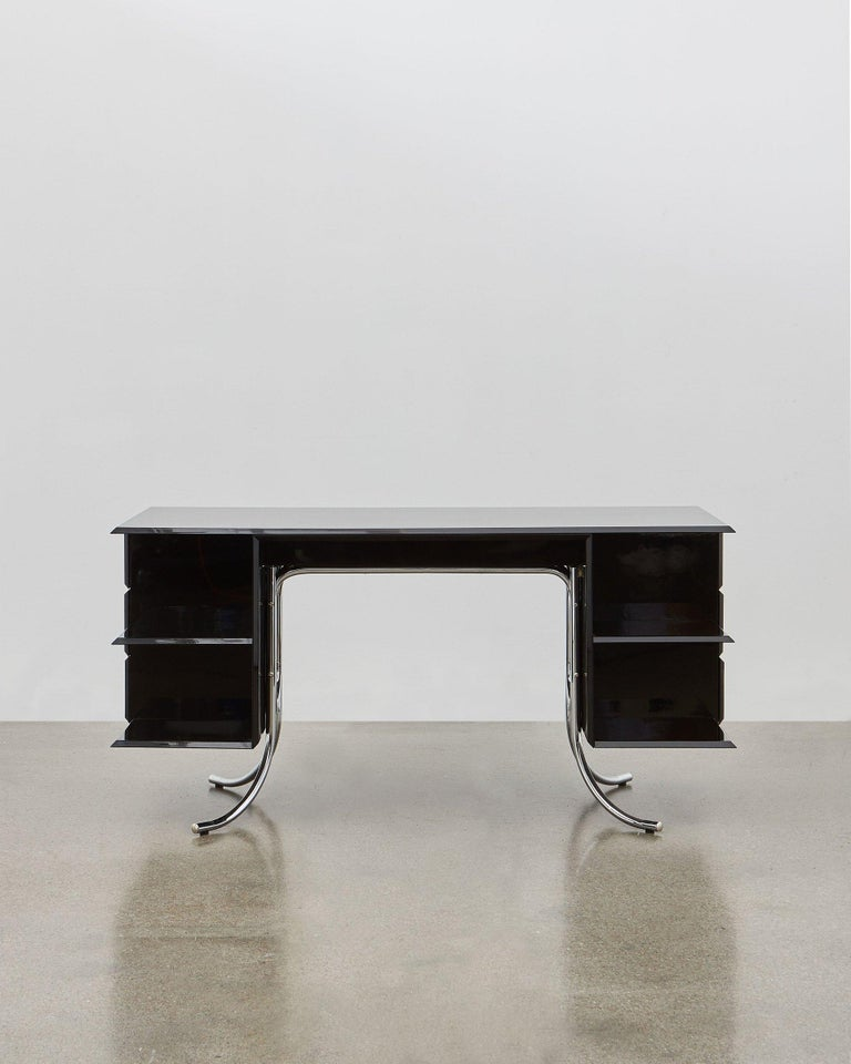 PH Office Desk, Chrome, Black Painted Polished, Leather on Panles, Satin Matt In New Condition For Sale In Copenhagen, DK