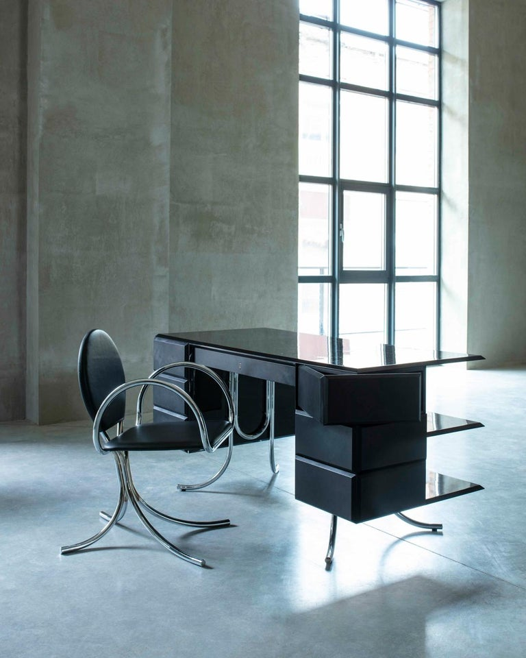 Contemporary PH Office Desk, Chrome, Black Painted Polished, Leather on Panles, Satin Matt For Sale