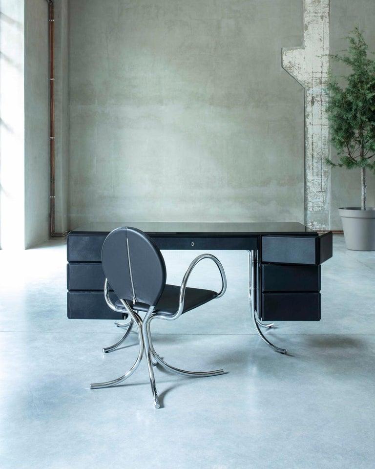 PH Office Desk, Chrome, Black Painted Polished, Leather on Panles, Satin Matt For Sale 1