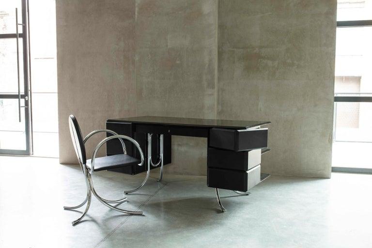 PH Office Desk, Chrome, Black Painted Polished, Leather on Panles, Satin Matt For Sale 2