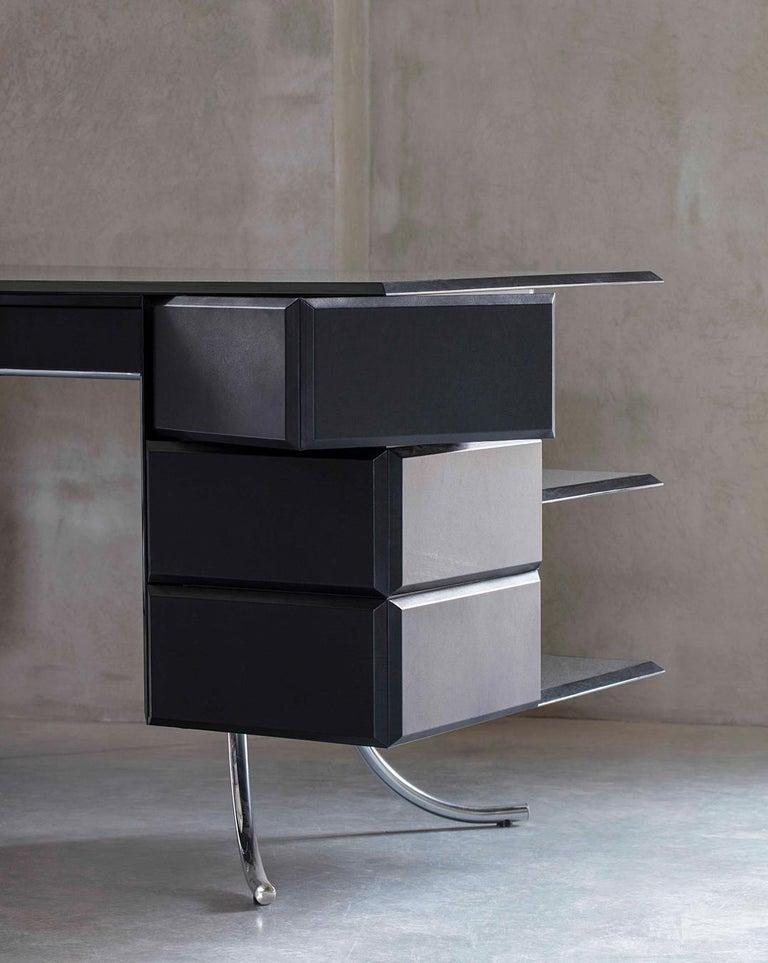 PH Office Desk, Chrome, Black Painted Polished, Leather on Panles, Satin Matt For Sale 3