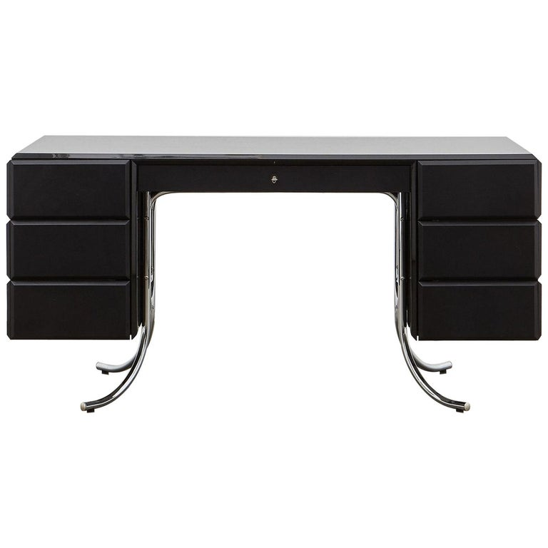 PH Office Desk, Chrome, Black Painted Polished, Leather on Panles, Satin Matt For Sale