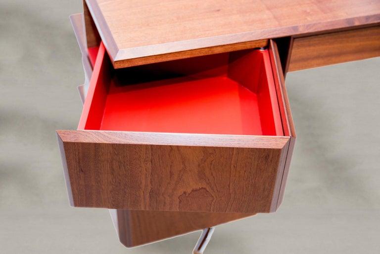 Bauhaus PH Office Desk, Chrome, Mahogany Venee, Red Satin Matt, Solid Wood Edges For Sale