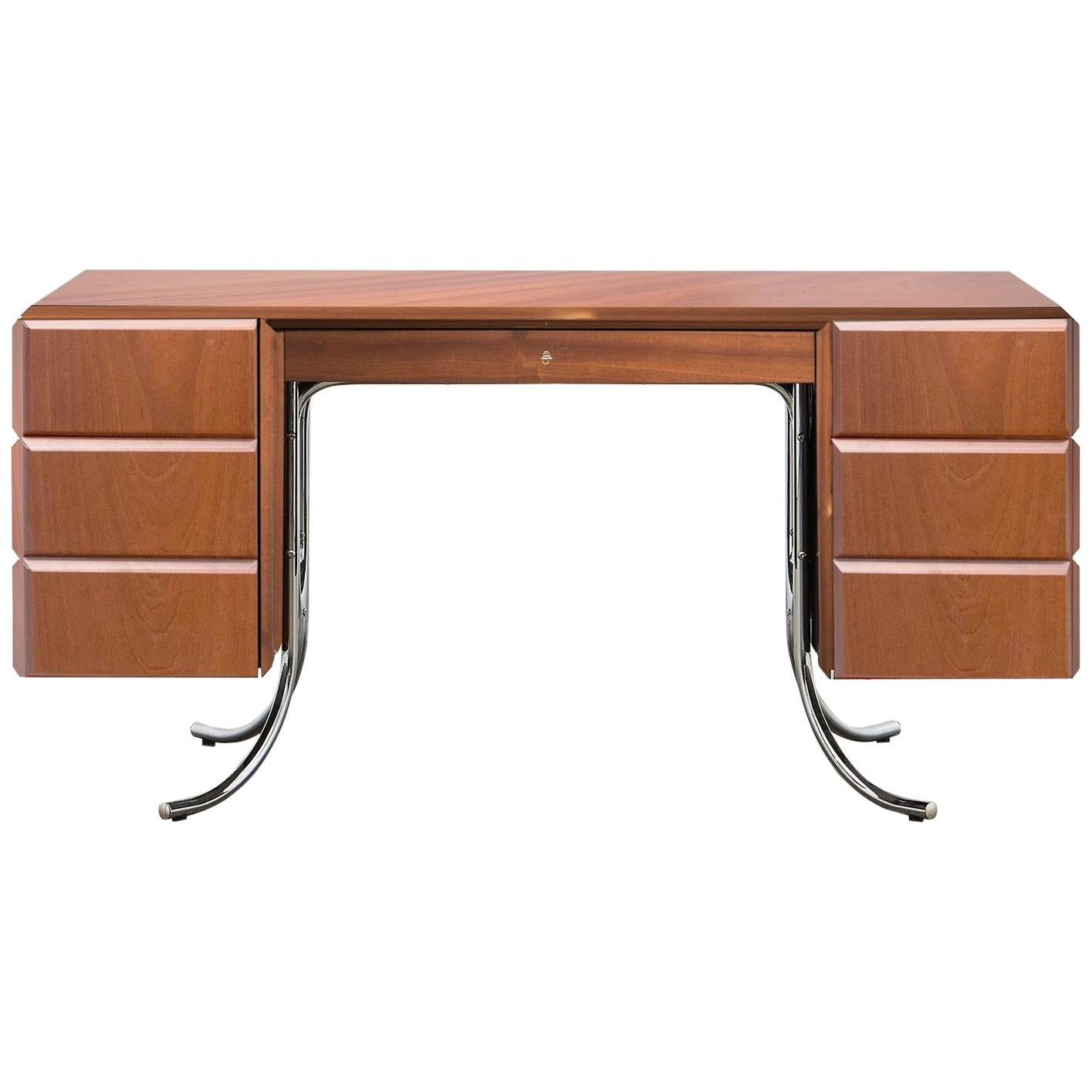 PH Office Desk, Chrome, Mahogany Venee, Red Satin Matt, Solid Wood Edges