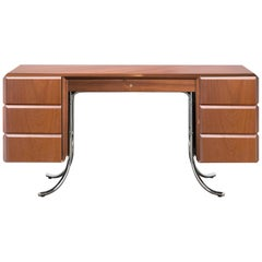 PH Office Desk, Chrome, Mahogany Venee, Red Satin Matt, Solid Wood Edges