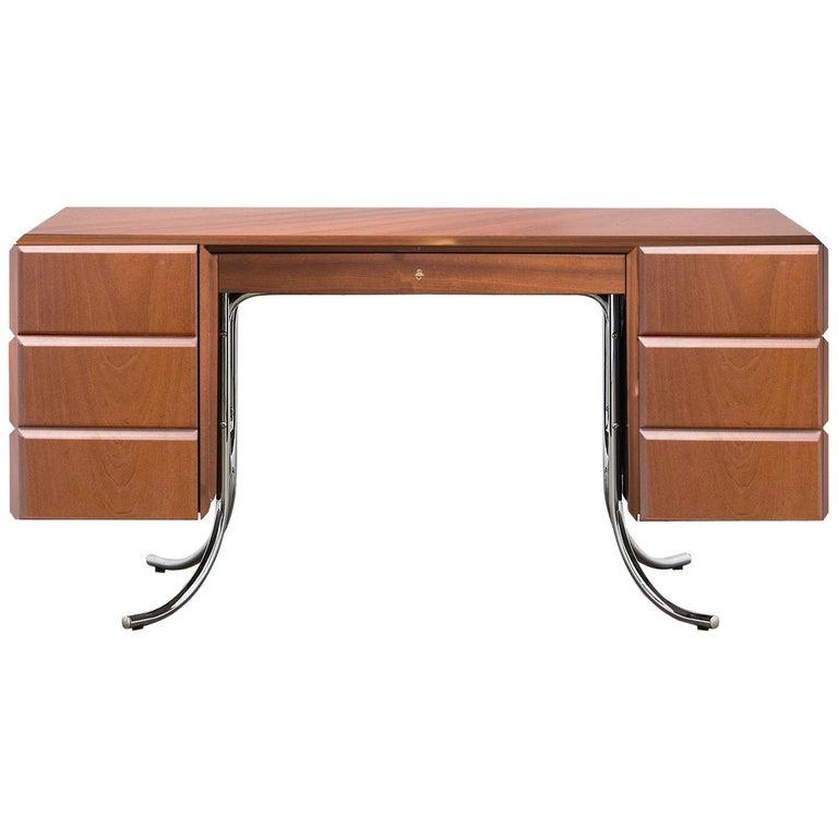 PH Office Desk, Chrome, Mahogany Venee, Red Satin Matt, Solid Wood Edges For Sale