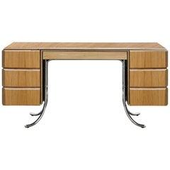 PH Office Desk, Chrome, Natural Oak Veneer, Green Satin Matt, Plywood Edges