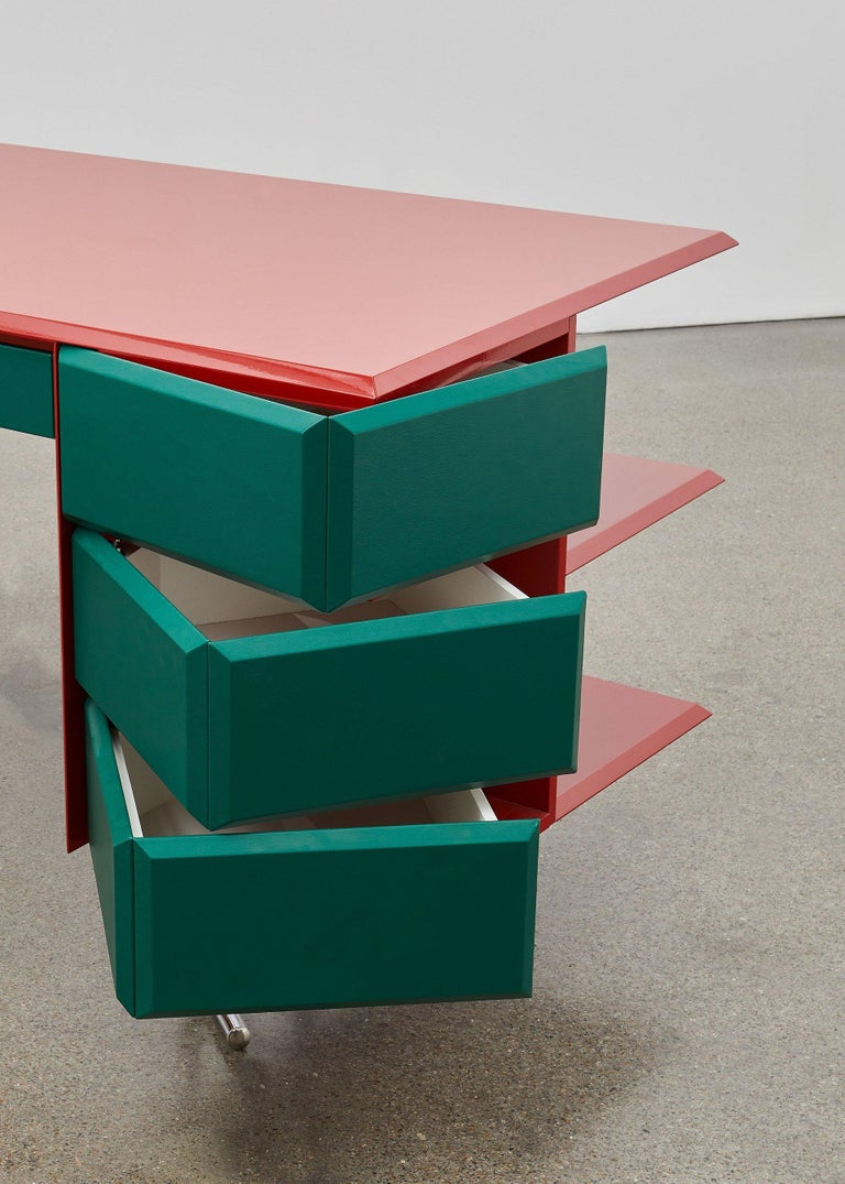 Bauhaus PH Office Desk, Chrome, Red Painted Polished, Satin Matt Drawers, Green Leather For Sale