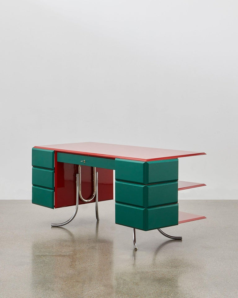 Danish PH Office Desk, Chrome, Red Painted Polished, Satin Matt Drawers, Green Leather For Sale