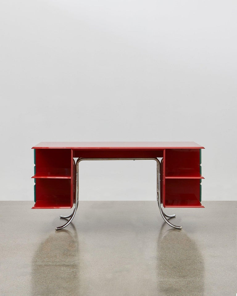 PH Office Desk, Chrome, Red Painted Polished, Satin Matt Drawers, Green Leather In New Condition For Sale In Copenhagen, DK