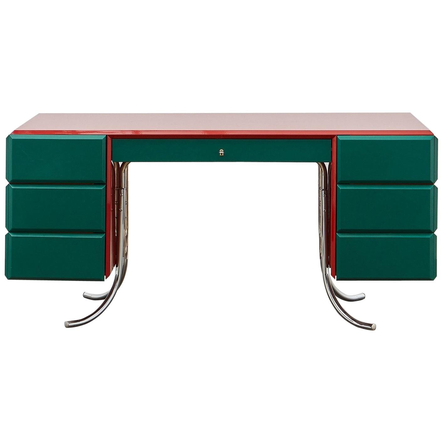 PH Office Desk, Chrome, Red Painted Polished, Satin Matt Drawers, Green Leather