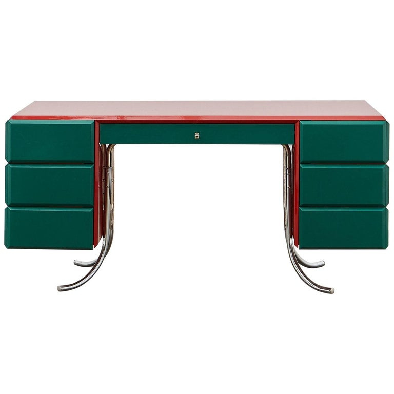 PH Office Desk, Chrome, Red Painted Polished, Satin Matt Drawers, Green Leather For Sale