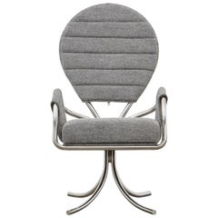 PH Pope Chair, Chrome, Hallingdal Light Grey 126