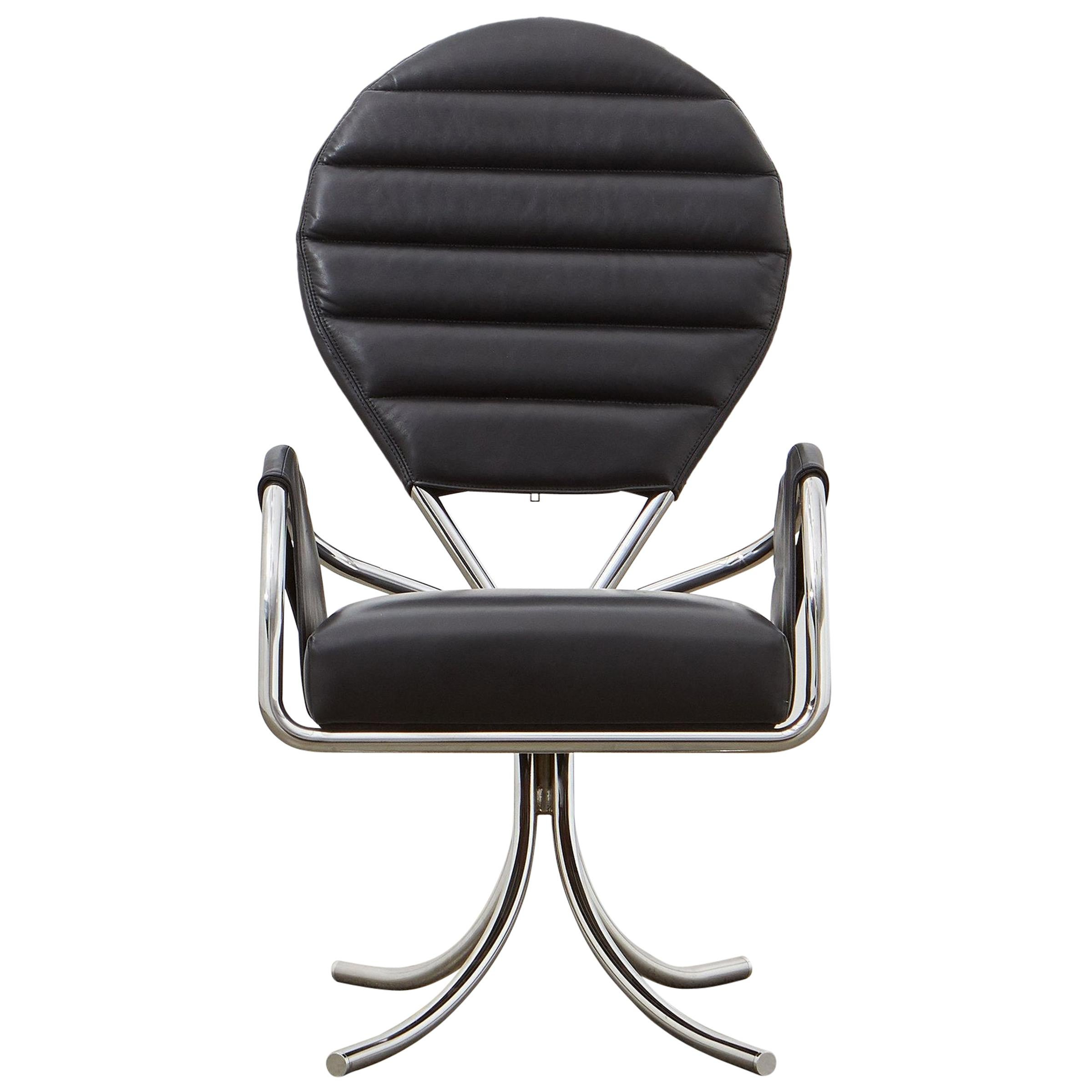 PH Pope Chair, chrome, leather extreme black