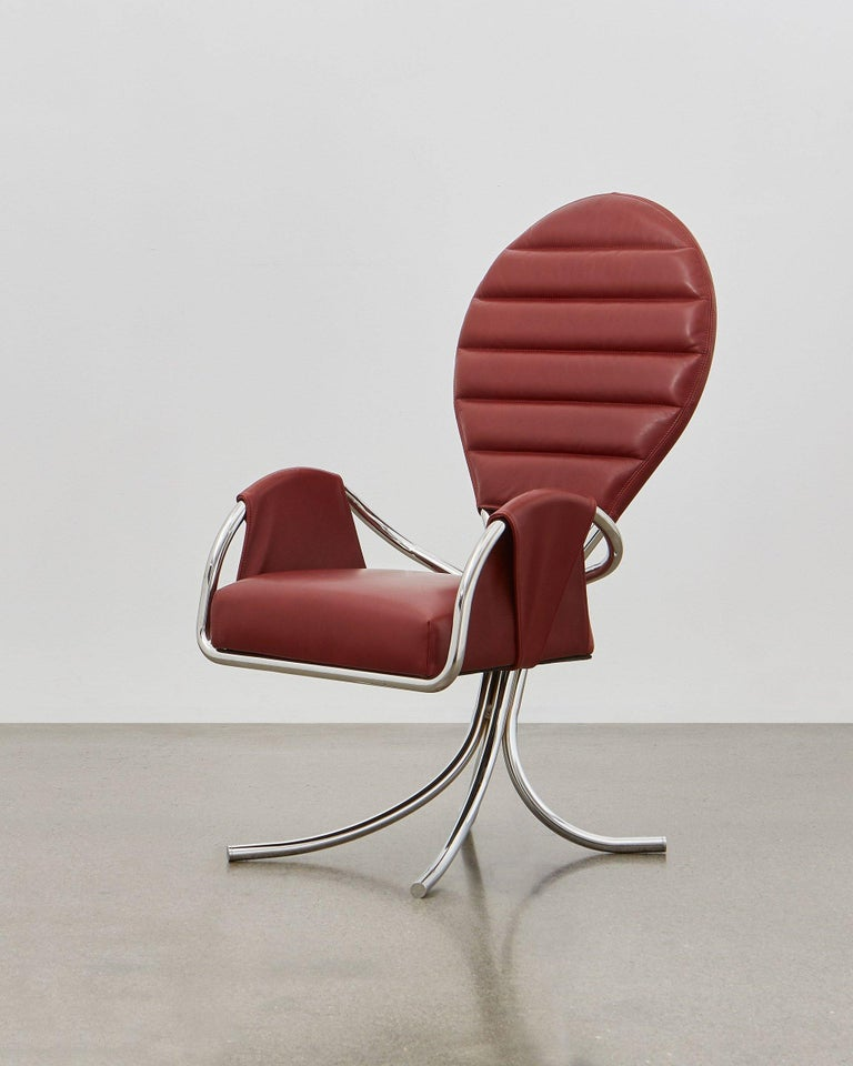 Bauhaus Ph Pope Chair, Chrome, Leather Extreme Indianred For Sale
