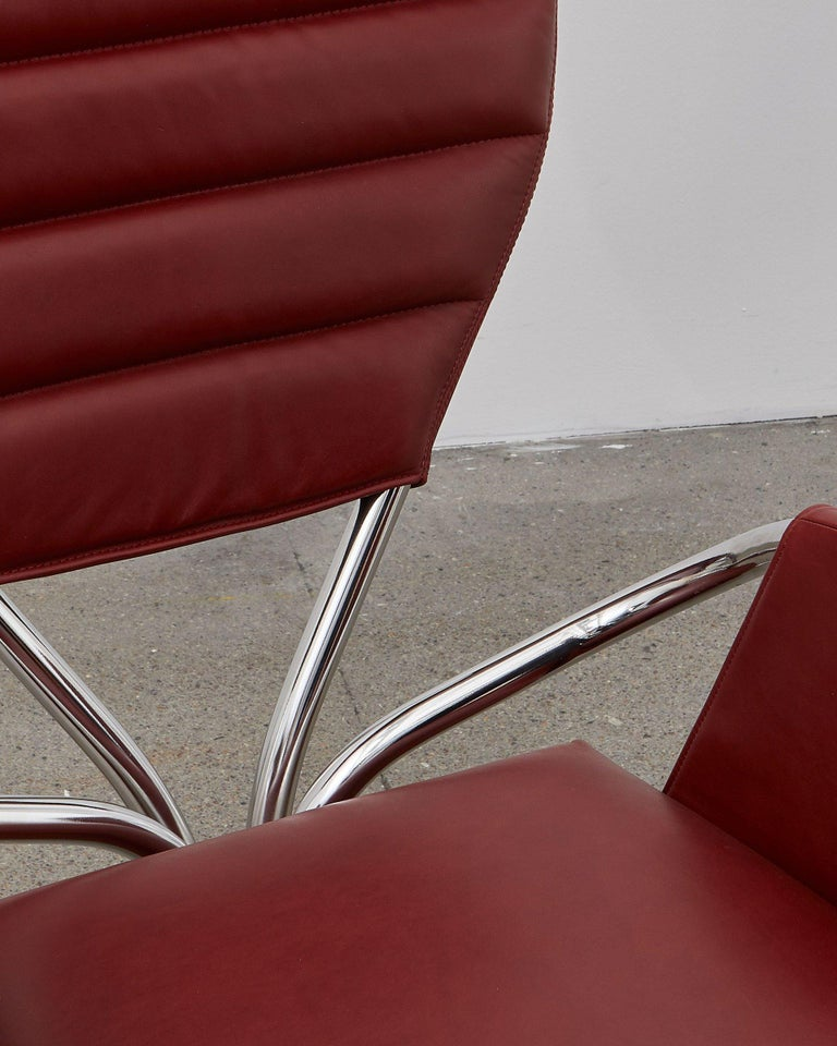 Ph Pope Chair, Chrome, Leather Extreme Indianred In New Condition For Sale In Copenhagen, DK