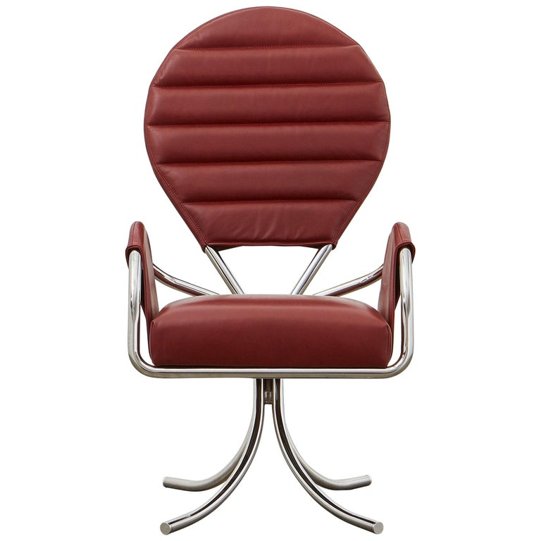 Ph Pope Chair, Chrome, Leather Extreme Indianred For Sale